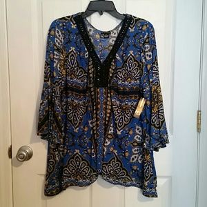 Tops - NWT New Directions Blue V-neck Blouse XL